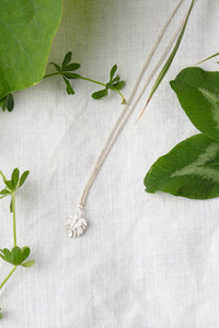 Amanda Coleman silver monstera leaf necklace