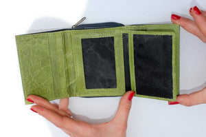 Small Grande Navy and Apple Green Leather Trifold Wallet