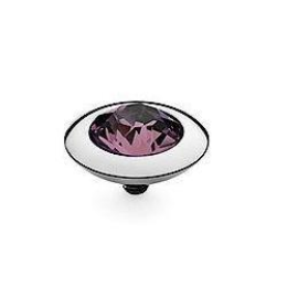 Qudo 13mm Tondo Stainless Steel Ring Top - Amethyst