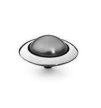 Qudo 16mm Tondo Stainless Steel Ring Top - Dark Grey Pearl