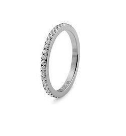 Qudo 'Eternity' Silver Stainless Steel Spacer Ring