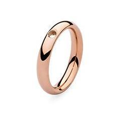 Qudo 'Slim' Rose Gold Plated Stainless Steel Ring
