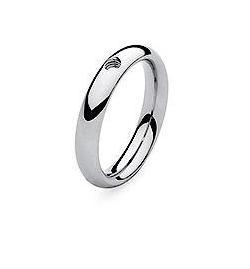 Qudo 'Slim' Silver Stainless Steel Ring