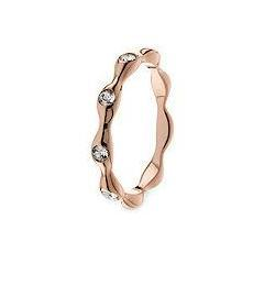 Qudo 'Stia' Rose Gold Stainless Steel Crystal Spacer Ring