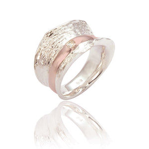 Textured Silver and Rose Ring