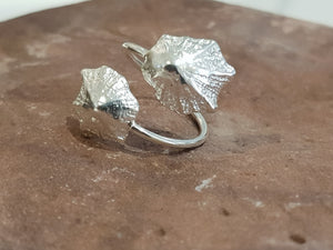 Agapi Smpokou Seastories - twin rock limpets adjustable ring silver
