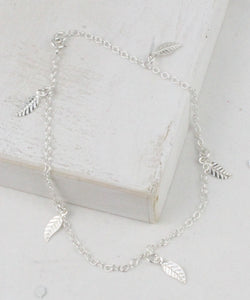 Lucy Kemp silver feather charm anklet
