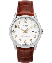Timex easy reader signature 38mm leather strap watch