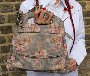 Trinity Floral Grey Leather Trapeze Handbag