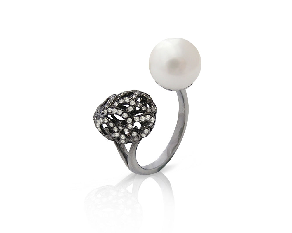 Fei Liu Whispering Pearl Large Filigree Egg Doublet Ring in Black Gold, Size O