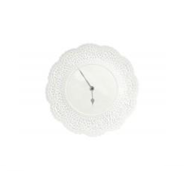 White Ceramic Doily Wall Clock 28cm