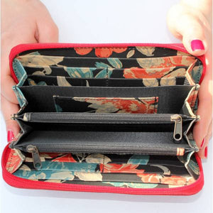 Zip Surround Large Wallet Red & Spanish Floral