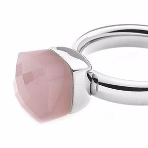 Qudo 7mm 'Ascoli Mini' Stainless Steel Ring Top - Altrose Opal