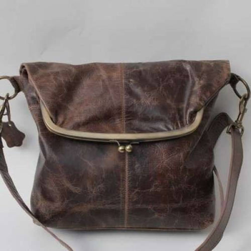 Dublin Large Leather Clip Bag - Brown