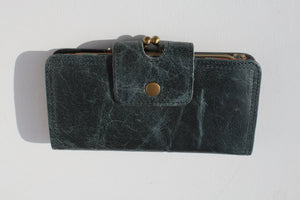 Evanna Large Clip Wallet Navy And Spanish Floral Leather