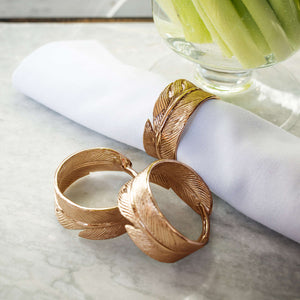 Culinary Concepts Gold feather napkin rings