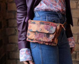 Neus Floral Leather Double Bumbag