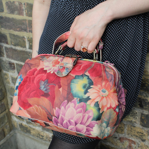 Doctor Bag Small French Floral Print Leather