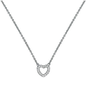 Silver pendant necklace with cubic zirconia heart