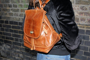 Barcelona Backpack Tan Leather