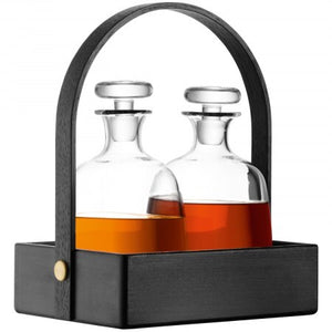 LSA Disc Decanter x 2 and Black Beech Tray 900ml