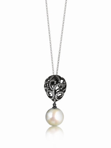Fei Liu Whispering Small Hollow Tear Drop & Round Pearl Pendant