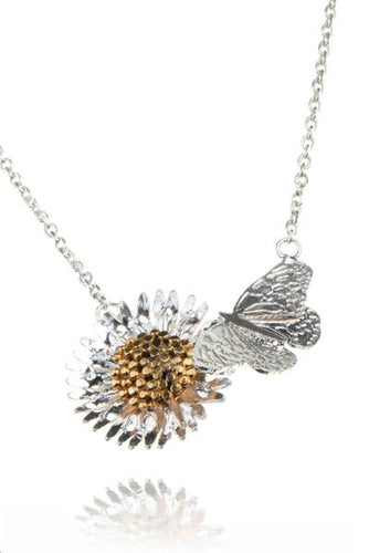 Amanda Coleman butterfly and daisy necklace