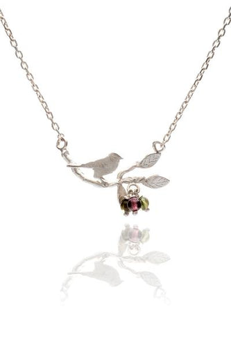 Amanda Coleman bird on branch necklace