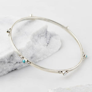 Charlotte's Web Rajput serenity stacking bangle - Turquoise and pearl