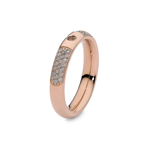 Qudo Rose Gold Plated Slim Deluxe Ring