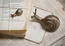 Nkuku large antique brass snail paperweight