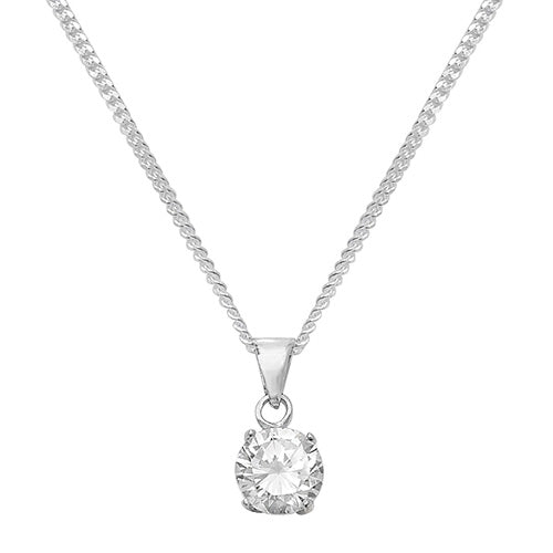 Silver and round cubic zirconia necklace