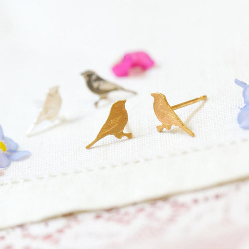 Amanda Coleman gold tiny bird studs