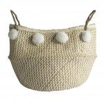 Dassie Toulouse monochrome basket with pom poms - large