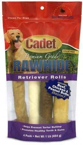 Cadet Rawhide Retriever Rolls for Dogs, Assorted Flavors
