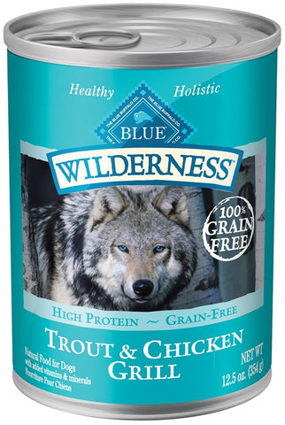 Blue Buffalo Wilderness Grain Free Trout and Chicken Canned Dog Food