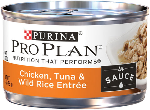 Purina Pro Plan Savor Adult Chicken, Tuna and Wild Rice in Sauce Entree Canned Cat Food