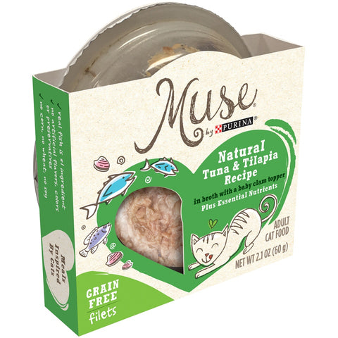 Purina Muse Natural Adult Grain Free Tuna and  Tilapia Recipe in Broth with Baby Clam Topper Cat Food Trays