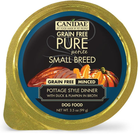 Canidae Grain Free PURE Petite Small Breed Pottage Style Dinner Minced with Duck and Pumpkin in Broth Wet Dog Food