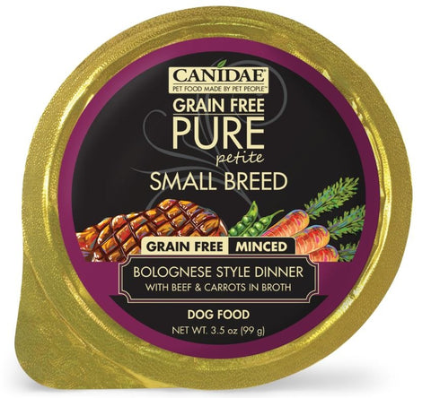 Canidae Grain Free PURE Petite Small Breed Bolognese Style Dinner Minced with Beef and Carrots in Broth Wet Dog Food