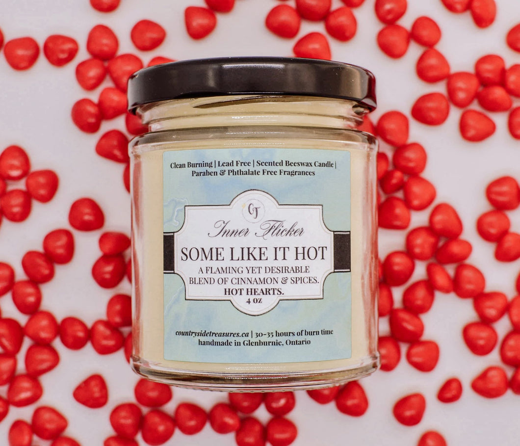 SOME LIKE IT HOT (Cinnamon Hearts) scented beeswax candle - Countryside Treasures