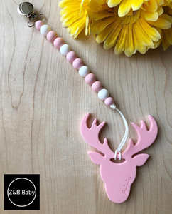 Silicone 'Deer' Soother Clip | Teether - Countryside Treasures