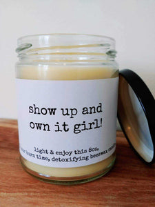 SHOW UP & OWN IT beeswax candle - Countryside Treasures