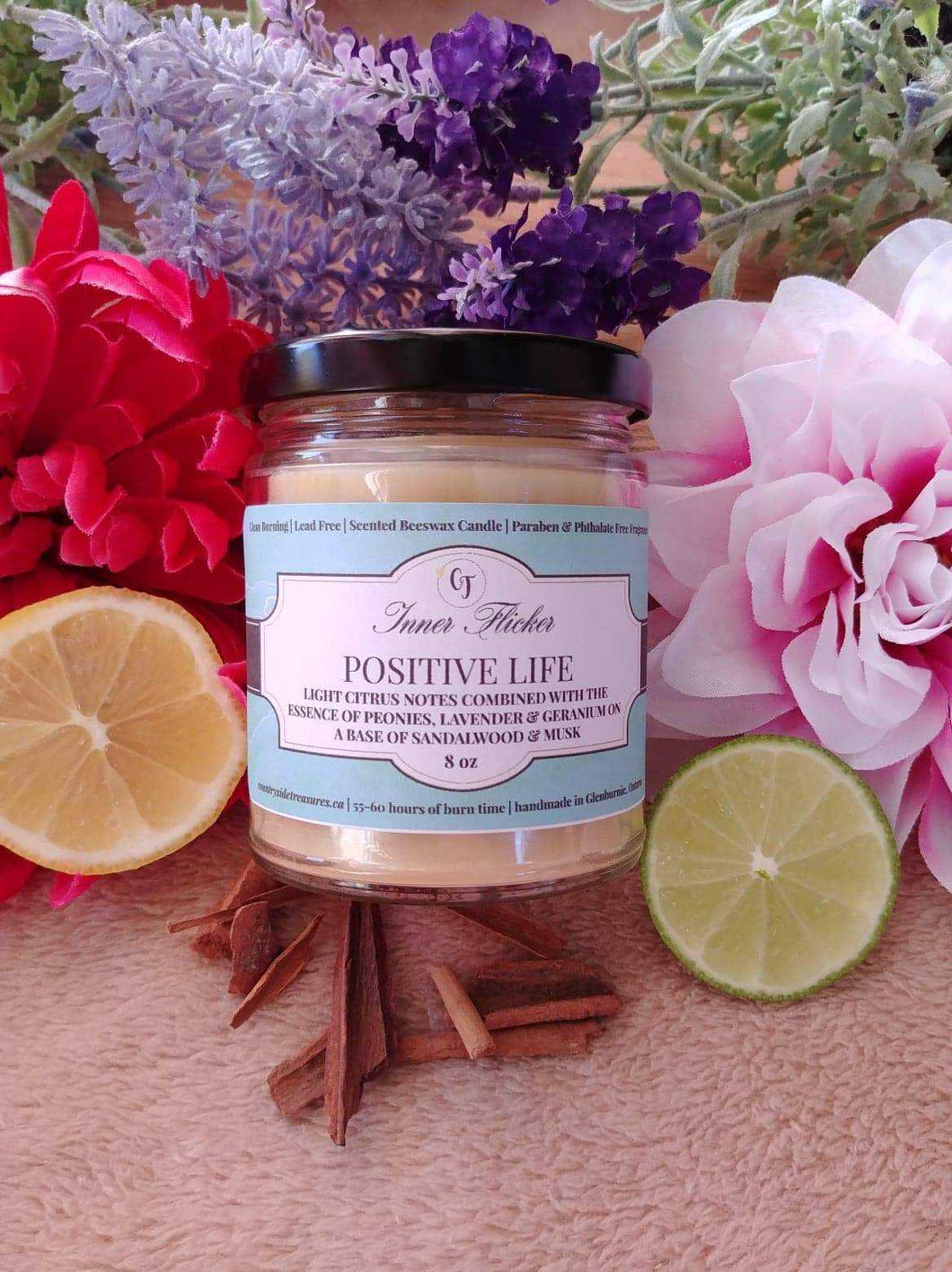 POSITIVE LIFE (White Tea + Ginger) beeswax candle - Countryside Treasures