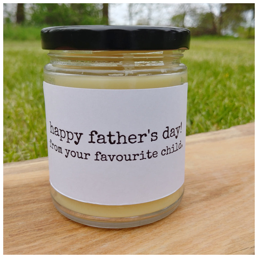 HAPPY FATHERS DAY FROM YOUR FAVOURITE CHILD beeswax candle - Countryside Treasures