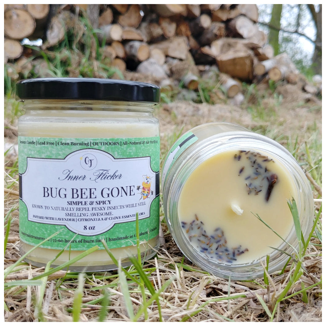 BUG BEE GONE - SIMPLE & SPICY (OUTDOOR) beeswax candle - Countryside Treasures