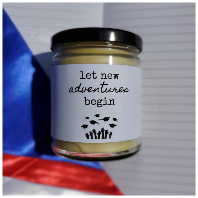 LET NEW ADVENTURES BEGIN beeswax candle - Countryside Treasures