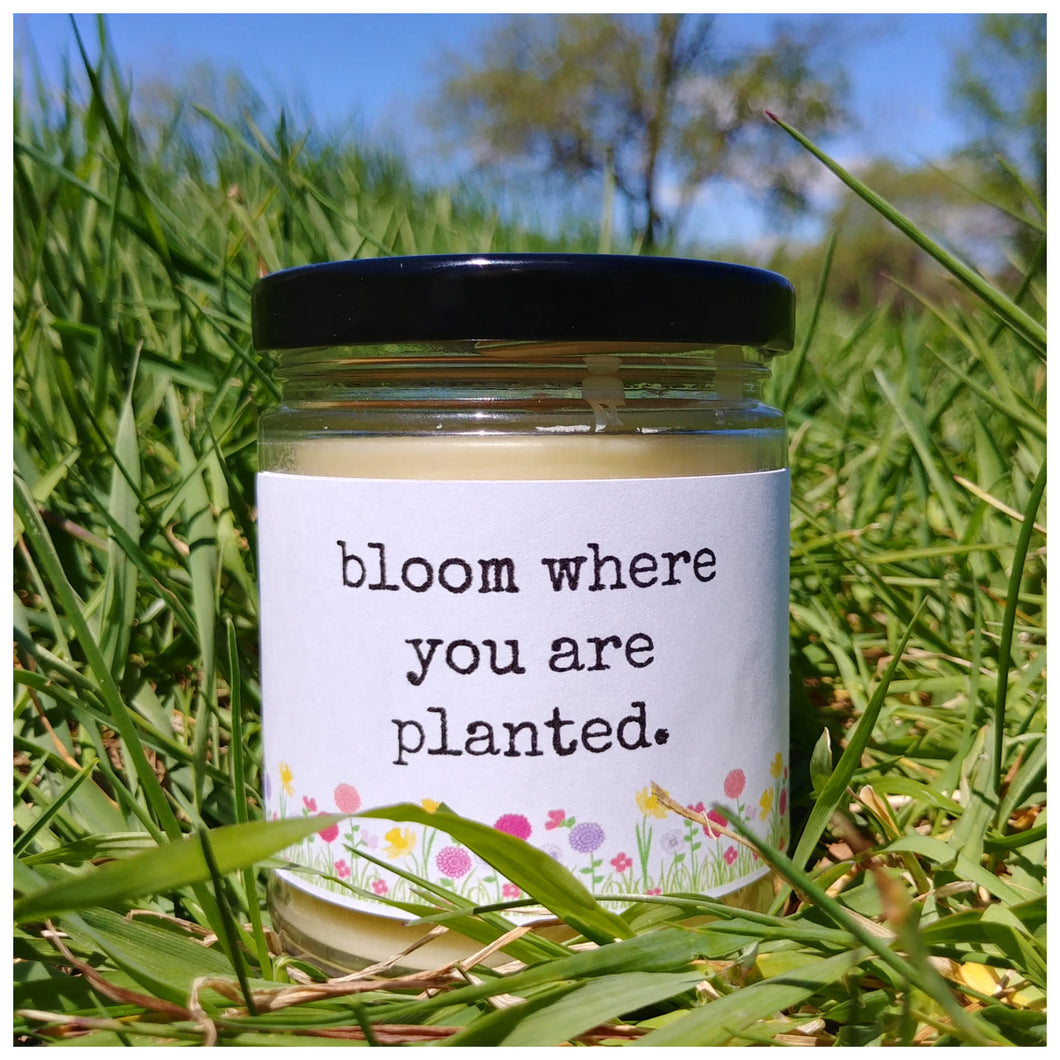 BLOOM WHERE YOU ARE PLANTED beeswax candle - Countryside Treasures