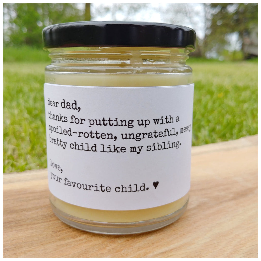 DEAR DAD | LOVE YOUR FAVOURITE CHILD beeswax candle - Countryside Treasures