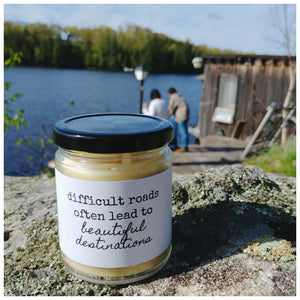 DIFFICULT ROADS | BEAUTIFUL DESTINATIONS beeswax candle - Countryside Treasures